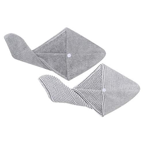 HEALLILY Lot de 2 serviettes de séchage pour cheveux à séchage rapide Gris