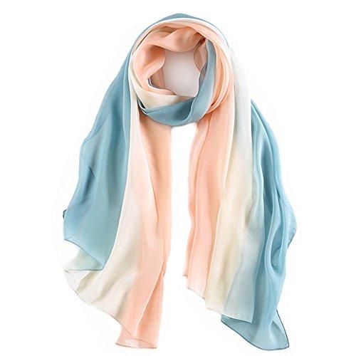 """pañuelos cuello mujer seda 100% Foulard seda mujer Mantón Bufandas Moda Chals Señoras Elegante Fulares 70,8 """"x 27,5'' polvo blanco azul"""