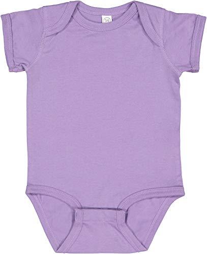 RABBIT SKINS, Baby Soft Fine Jersey Short Sleeve Bodysuit, Lavender, 6 Months