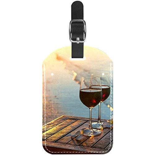 Etichette per bagagli, 2 bicchieri di vino rosso in pelle da viaggio, etichette per valigie, 1 confezioni