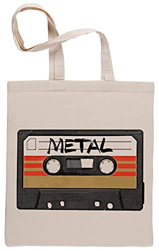 Pesado Metal Música Casete Reutilizable Algodón Beige Bolsa de la Compra Reusable Cotton Shopping Bag