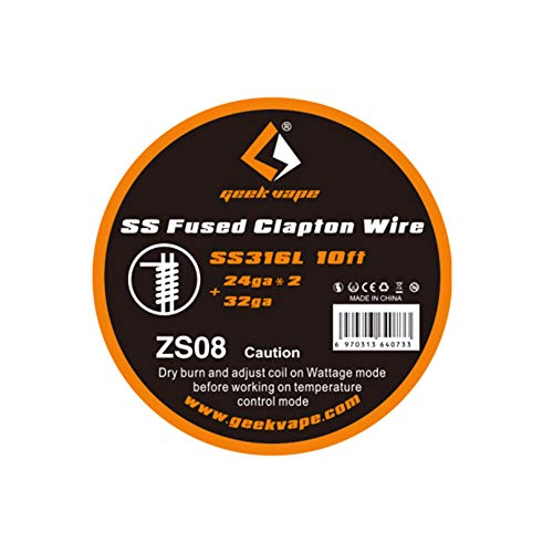 Geekvape 10feet SS316L Stainless Steel Fused Clapton Vape Coil Wire Filo di resistenza