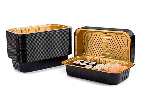 CONTITAL Contenitori 2/3 Porzioni in Alluminio laccato AS221112 Eclipse - Vaschette monouso Nero/Oro, Linea Eclipse, Luxury Food Delivery - Extra Rigidi, 50 pezzi