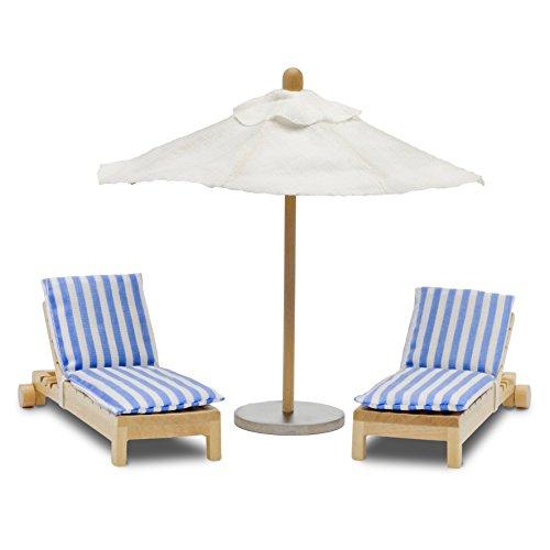 Lundby 60.9048.00 - Liege und Sonnenschirm, Minipuppen mit Zubehör
