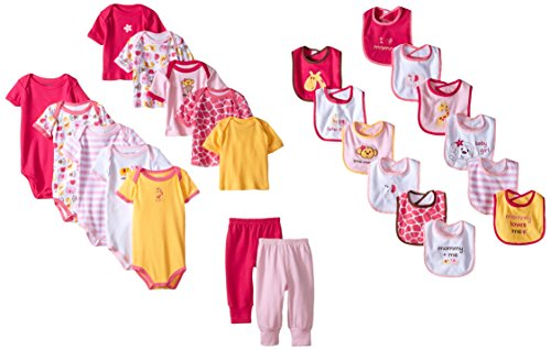 Luvable Friends Unisex Baby Layette Gift Cube, Pink Safari, 0-3 Months