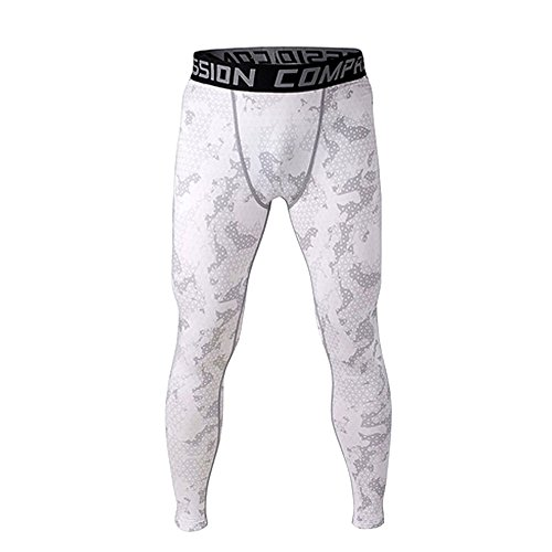 1Bests Men and Yonth Boy Fitness Compression Pants Running Tights Length Pants Leggings(S,White)