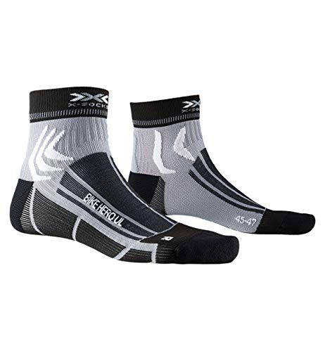 X-SOCKS Bike Hero Ultra Light Chaussette Mixte Adulte, Opal Black/Dolomite Grey, FR : M (Taille Fabricant : 39-41)
