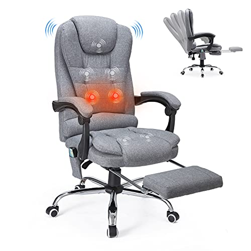 YODOLLA Ergonomic Reclining Office Chair with Massage and Heat Function, Breathable Fabric Executive Computer Chair w/Retractable Footrest, High Back Swivel Recliner for Office, Home, Study, Grey