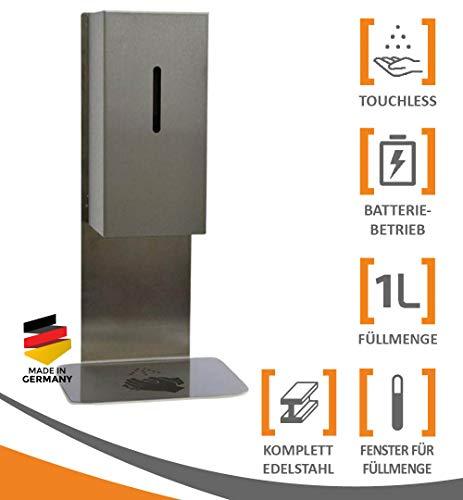 MyMAXXI | Mobiler Hand Desinfektionsmittelspender Station Sensor Steel Tisch & Tresen Stand Set 1x 1L Desinfektionsmittel stehend automatisch | touchless disinfection | Desinfektionsspender Standfuß