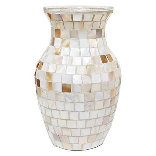 """SHMILMH Glass Shell Handmade Vase 8"""" Tall Table Centerpiece Mosaic Accent Container for Flowers, Home Decor, Office, Living Room, Kitchen, Wedding"""