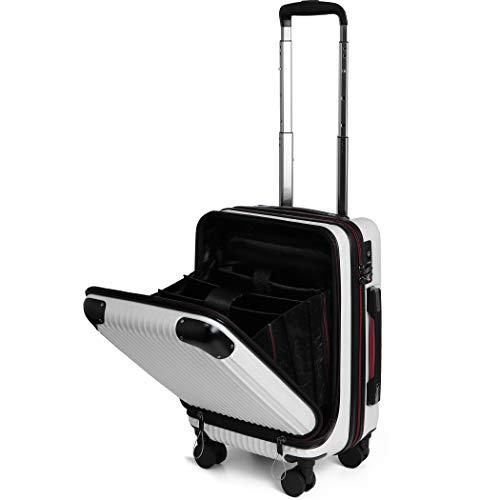 PROEVO(プロエボ)スーツケース MAX 軽量 小型 フロントオープン 【W-Receipt】 前ポケット スクラッチ/シャンパン SSサイズ(約32L)