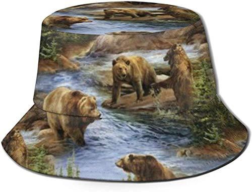 Trushop Modello di Amanti Unisex orsi Cappello a Secchiello Carino Cappello da Pescatore Estivo Bilance a Sirena Colorate