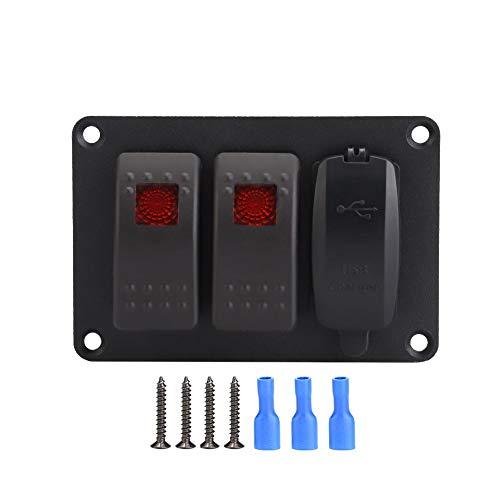Panel de interruptores basculantes, motocicleta ATV IP66 a prueba de agua 2 interruptores de luz única Panle + cargador de coche de 5 V / 3,4 A con 45 pegatinas de patrón(rojo)
