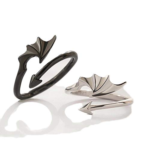 Give Me a Hug Ring, Demon Angel Wing Open Rings Adjustable, Love Hug Hand Rings for Men and Women Dragon Wing Arrow Black White Couple Ring (black+silver)