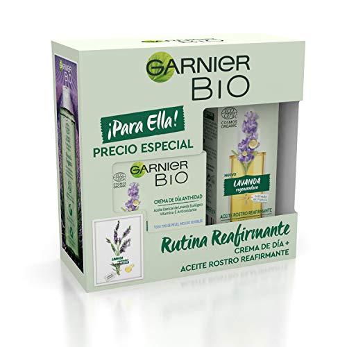 GARNIER Bio Pack Antiedad Crema Antiedad Con Aceite Esencial De Lavanda Y Vitamina E + Aceite De Rostro Reafirmante Con Lavanda, Suaviza, Reafirma Y Regenera La Piel, 50 Ml + 30 Ml, 410 Gramo