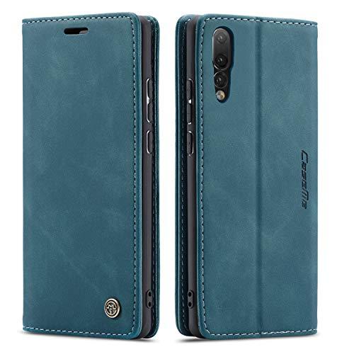 QLTYPRI Hülle für Huawei P20, Vintage Dünne Handyhülle mit Kartenfach Geldtasche Standfunktion PU Ledertasche TPU Bumper Flip Schutzhülle Kompatibel mit Huawei P20 - Blau
