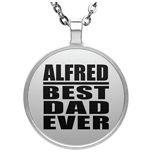 Alfred Best Dad Ever - Round Necklace Collar, Colgante, Bañado en Plata...