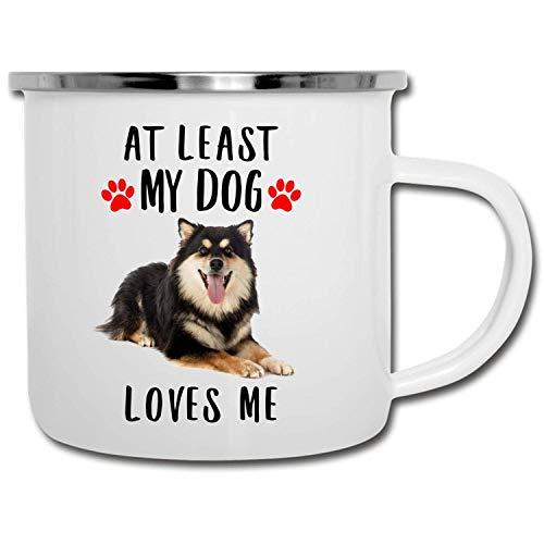 N\A Divertido Lapphund finlandés Tricolor al Menos mi Perro me ama esmaltado Camper Mug 11oz