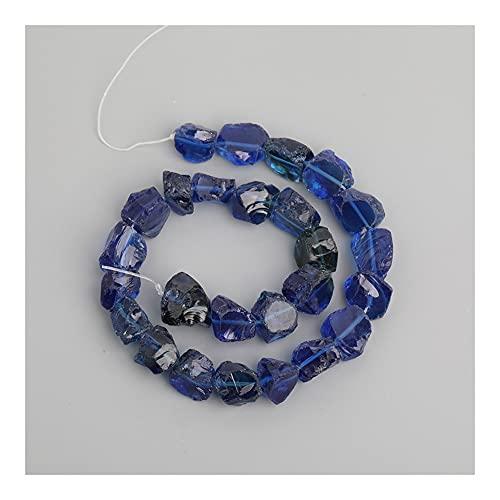 Decoración de Cristal curativo Cuarzo Azul Claro Cristal de Cristal Nugget Piedras Sueltas Joyas Colgantes, Perlas de Piedra de Vidrio de Pepita Moda Collar de Moda para Ella (Color : Dark Blue)