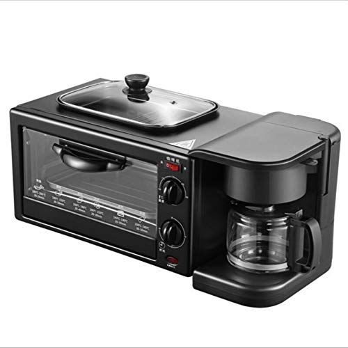 ASDFGH Horno Eléctrico De 9L, Mini Pequeño Hogar Tostador Home Multi Funcional Tres-en Uno Desayuno Automático Máquina De Café freidora (Color : Black, Size : Set Meal 3)