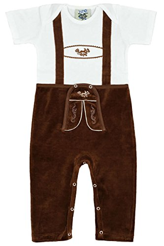 Isar-Trachten Baby - Jungen Babystrampler Lederhose Braun Lang, Weiß-Braun, 68