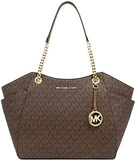 Michael Kors Women's Jet Set Travel, Large Chain Shoulder Tote Bag, Saffiano Leather - Brown