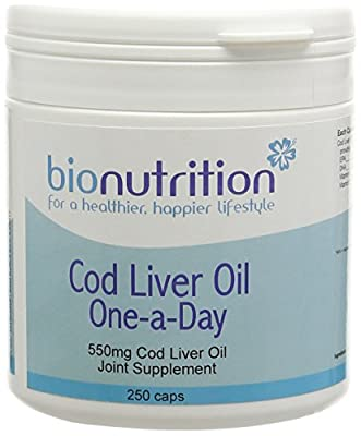 Bio Nutrition Cod Liver Oil 550mg one-a-day - Joint & bone health supplement - 250 caps by Bio Nutrition Health Products Ltd