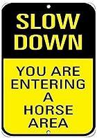 収集可能な壁のアートインチ、引用速度が遅くなりますあなたは馬のエリアの交通標識、家のための面白い警告標識、金属通知危険標識、私有財産標識、庭の門標識を入力しています