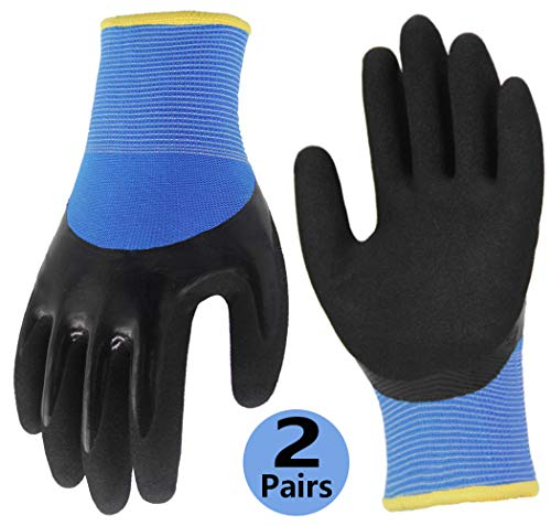 Double Coating Superior Grip Work Gloves 2 Pairs, Polar Fleece Liner Comfortable Durable for Outdoor Fishing Garden Construction Activities - Colorful