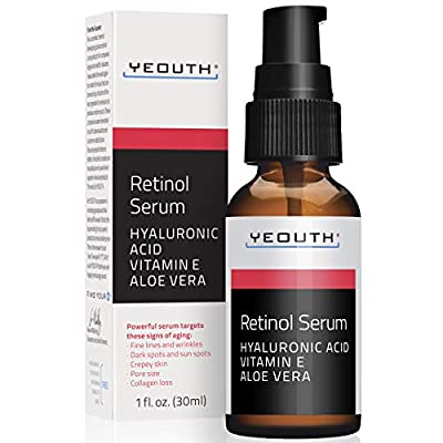 Retinol Serum 2.5% with Hyaluronic Acid, Aloe Vera, Vitamin E - Boost Collagen Production, Reduce Wrinkles, Fine Lines, Even Skin Tone, Age Spots, Sun Spots - 1 fl oz - Yeouth ...