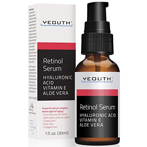 Retinol Serum 2.5% con ácido hialurónico, Aloe Vera, Vitamina E - Aumenta la producción de colágeno, Reduce arrugas, líneas finas - 1 oz - Yeouth