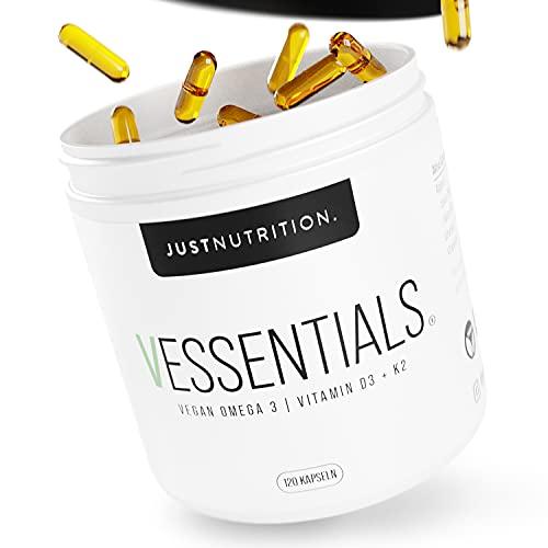 Vegan Omega 3 mit Vitamin D3 & K2 - Vessentials von JUST Nutrition mit 1400mg Omega-3 Fettsäuren aus Algenöl hochdosiert (1:2 EPA | DHA) - 120 Kapseln
