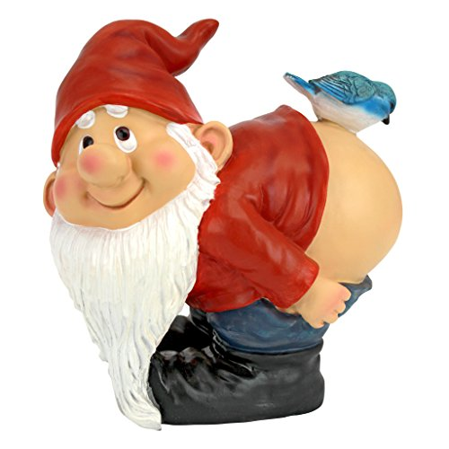 Design Toscano Loonie Moonie Bare Buttocks Garden Gnome Statue, Medium 20.25 cm, Polyresin, Full Color