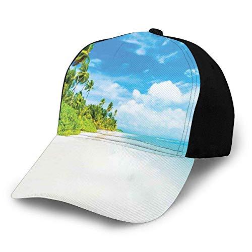 JONINOT Sombreros Unisex Gorras de béisbol Sombreros Sombrero de papá Imagen de Playa Tropical Mar y Cielo Paisaje con Palmeras de Coco Decoración Moderna