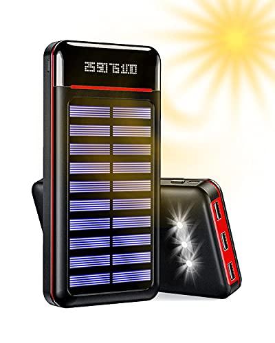 Aikove Solar Powerbank 25000 mAh, Handy Solar Ladegerät, externer Akku mit DREI USB-Ausgängen und Zwei Eingängen (Micro & Type-C) und DREI LED-Leuchten, kompatibel mit Allen Smartphone Tablet
