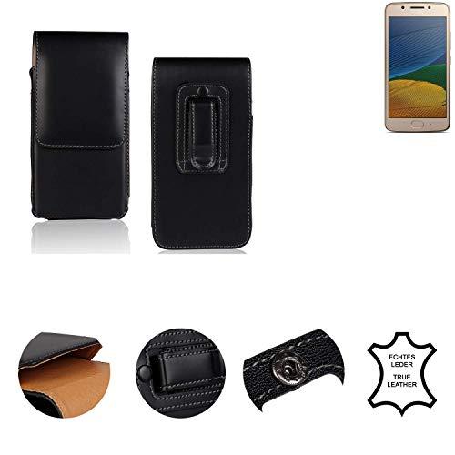 K-S-Trade® Holster Gürtel Tasche Für Lenovo Moto G5 Single-SIM Handy Hülle Leder Schwarz, 1x
