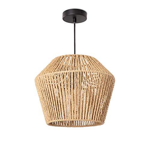Paco Home Hängelampe LED Pendellampe E27, Rattan Optik Boho Korb Wohnzimmer Esszimmer Flur, Lampenschirm:Natur (Ø33 cm), Lampentyp:Pendelleuchte Schwarz