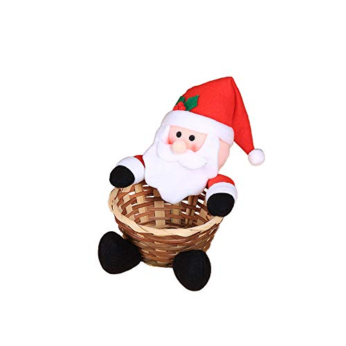 Kepato Christmas Candy Basket Storage Container Decoration Santa Claus Storage Basket Xmas Decor Party Decor Container Gift Box (A)