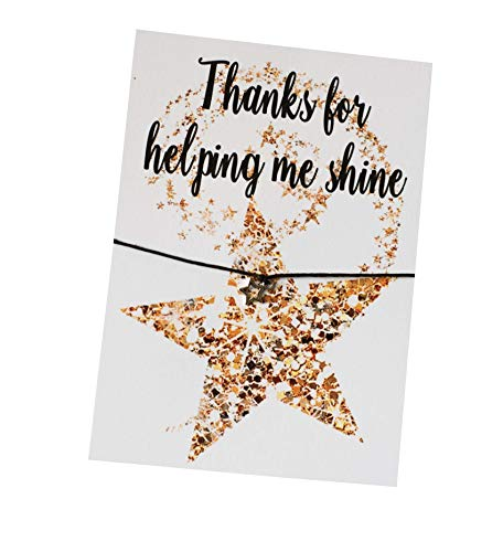 Dios Designs A6 Postcard Print - Thanks for Helping Me Shine - DD109 - Wish Bracelet, Badge, Magnet, Keyring or Mirror Teacher End of Term Thankyou Gift DD109 (Wish Bracelet)