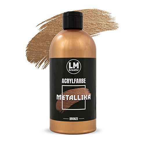 LM Metallika 500 ml Bronze - Acrylfarbe für Metallic Metall-Glanz, Effekt-Farbe Bastel-Farbe, Deko-Farbe metallisch glänzend