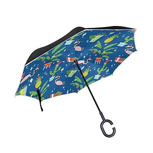 für Auto-Reverse-Regenschirm Flamingo Tropical Leaf Pineapple mit C-förmigem Griff City-Außenschirm Winddichter Sonnenschirm