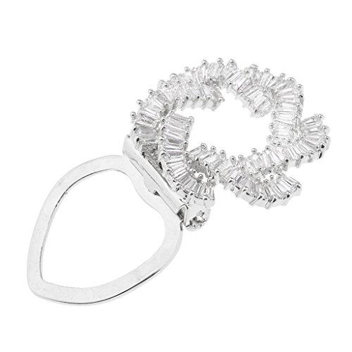 D DOLITY Tuchclip Tuchspange Schalclip Blumen Ringmuster Zikron Kristall Schalring Wölbungsclip - Silber Weiss