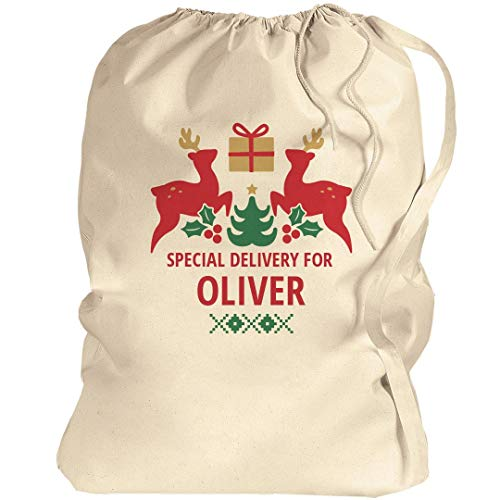 Special Delivery For Oliver Xmas: Canvas Laundry Bag