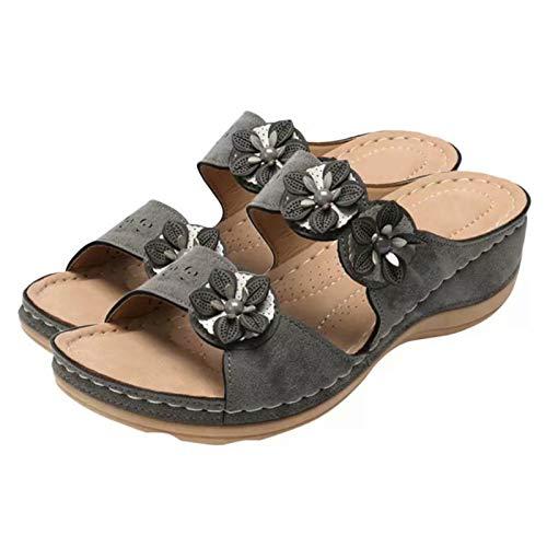 Jiacheng29_ Sandalias, Sandalias De Cuña Con Punta Abierta De Flores Vintage Para Mujer, Zapatos Con Plataforma Y Deslizamiento Al Aire Libre Negro 39