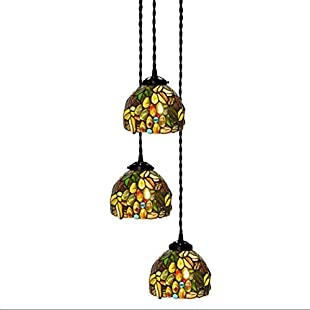 Creative Chandelier Tiffany Style,Iron Base Glass Shade Pendant Lamp Bedroom, Living Room Ceiling Pendant Light 110V-220V E27x3 Balcony Commercial Hanging Lamp (Without Bulb),220V:Comoparardefumar