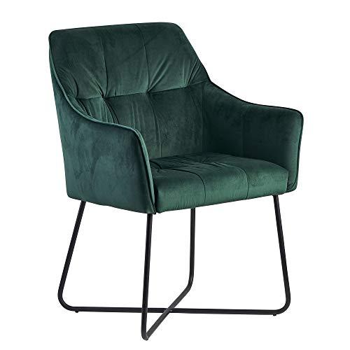 FineBuy Esszimmerstuhl Samt Grün Küchenstuhl mit Schwarzen Beinen   Schalenstuhl Stoff/Metall   Design Polsterstuhl  Stuhl Esszimmer Gepolstert