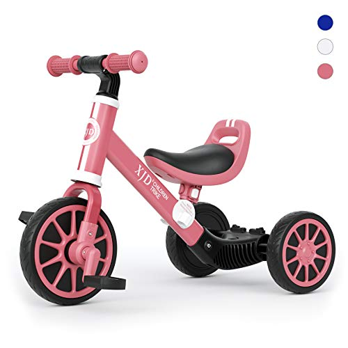 XJD 3 in 1 Kids Tricycles for 2 to 4 Years Old Kid Trike Toddler Bike Boy Girl Trikes for Toddler Tricycle Baby Bike Infant Trike with Adjustable Seat Height and Removable Pedal, Burgundy