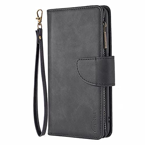 IMOK Handyhülle für Xiaomi Redmi 10X 4G, Premium PU Lederhülle Klapphülle Reißverschluss Brieftasche mit Kartenfächern/Standfuntion/Magnetverschluss,für Xiaomi Redmi 10X 4G-schwarz