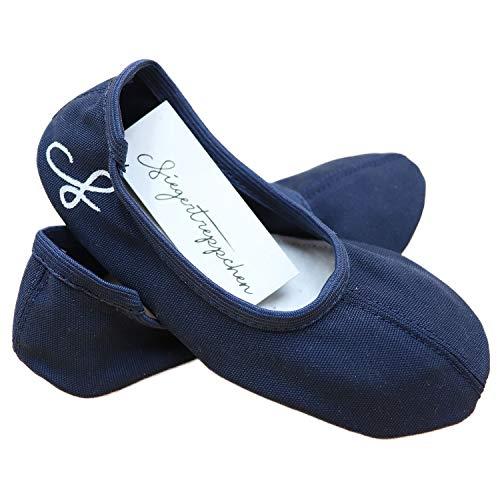 Siegertreppchen® Turnschläppchen Stoff (Größe 29) Blau | Gymnastikschuhe für Mädchen & Jungen| Ballettschuhe atmungsaktiv & rutschfest