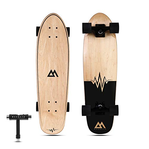 Magneto Mini Cruiser Skateboard Cruiser   Short Board   Canadian Maple Deck - Designed for Kids, Teens and Adults … (Heart Beat)